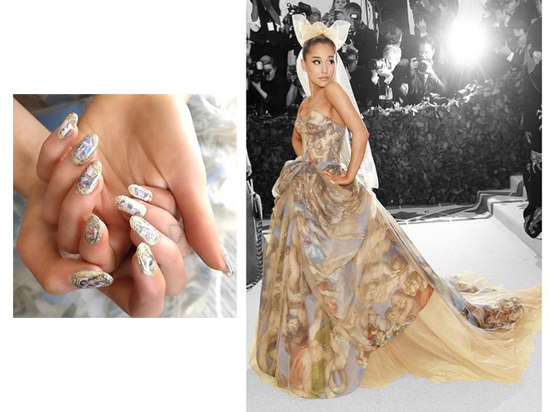 Ariana Grande's Sistine Chapel nails for 2018 Met Gala created by Natalie Minerva; Ariana at 2018 Met Gala wearing custom Vera Wang. Image Source: @nail_swag