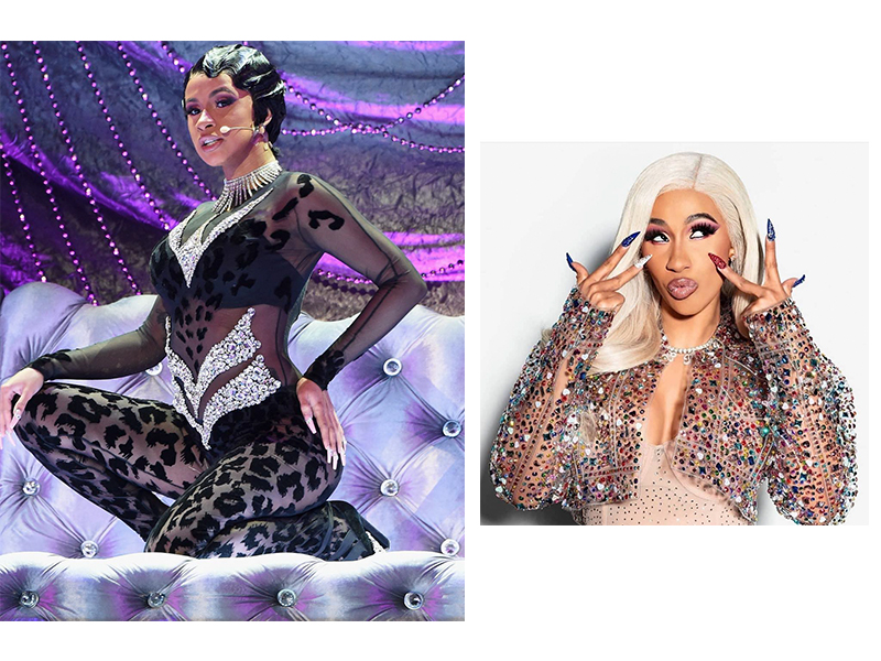 "Cardi B's 2019 Grammy performance of ""Money"". Image source: @iamcardib Cardi B's nails for Pepsi's Super Bowl Commercial created with hundreds of Swarovski crystals. Image source: @nailson7th"
