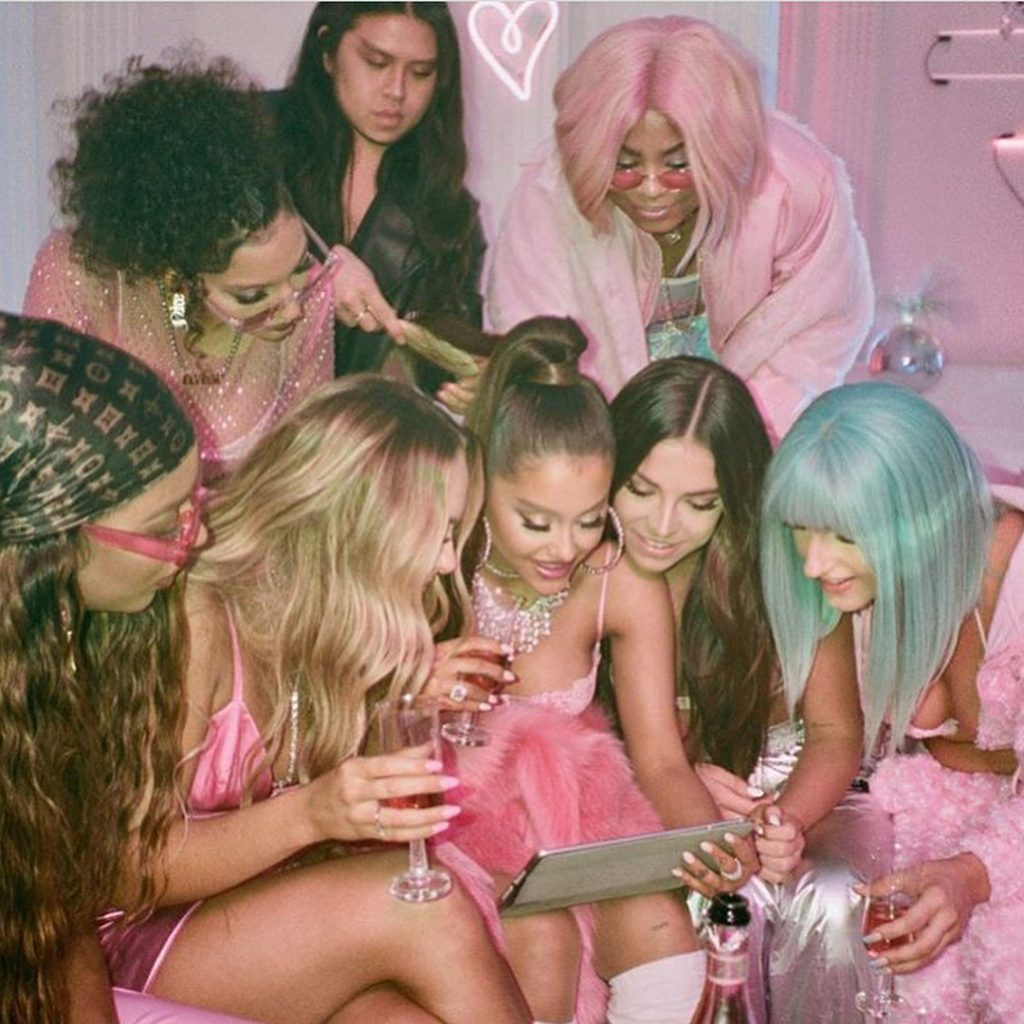 "Ariana Grande and her best friends gathered for the filming of ""7 Rings"" music video. Image source: @nail_swag"