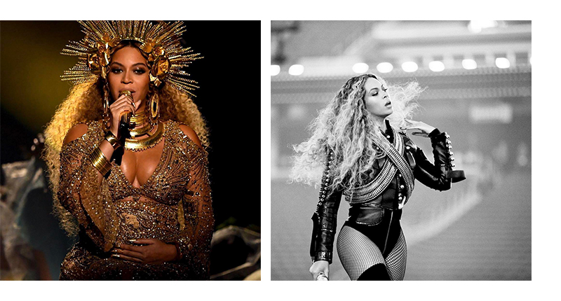 On the left: an image of Beyoncé's performance at The 2017 Grammys, as seen on @lisa_logan Right: Beyoncé at the Super Bowl 50, as seen on @beyonce