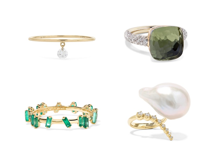 Top left, clockwise: gold diamond ring (approx. S$540) from Persée; 18-karat rose and white gold prasiolite and diamond ring (approx. S$7,580) from Pomellato; 14-karat gold, pearl, and diamond ring (approx. S$3,860) from Mizuki; 18-karat gold emerald ring (approx. S$2,340) from Suzanne Kalan.
