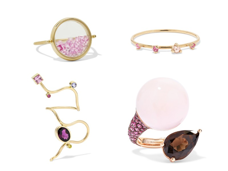 Top left, clockwise: 18-karat gold sapphire ring (approx. S$2,540) from Aurélie Bidermann; gold, sapphire, and pearl ring (approx. S$300) from Sarah & Sebastian; 18-karat rose gold multi-stone ring (approx. S$18,900) from De Grisogono; 14-karat gold multi-stone ring (approx. S$2,890) from Pernille Lauridsen.