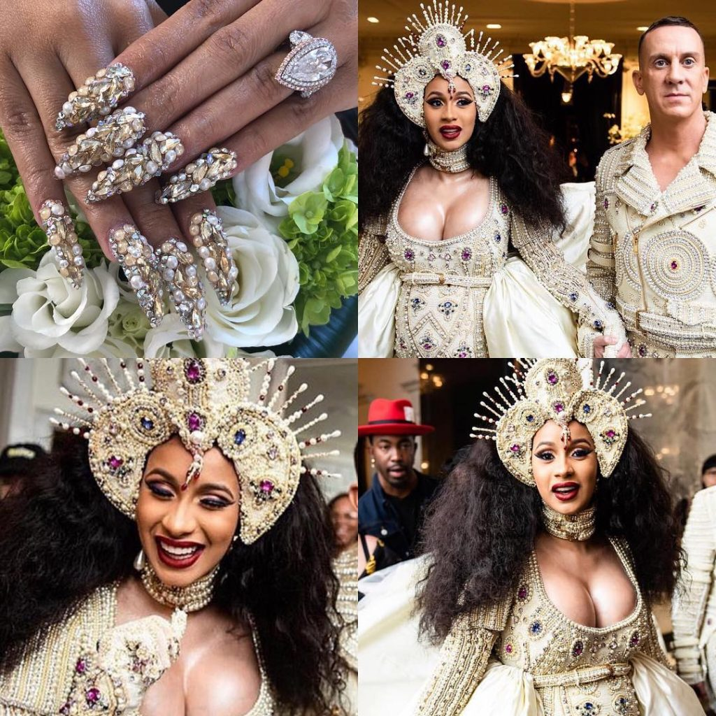 Cardi B at the 2018 Met Gala with nails by Bui. Image source: @nailson7th