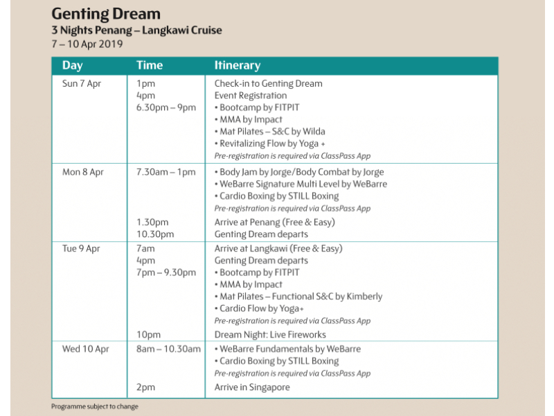 A look at the fitness schedule on Dream Cruises' website.