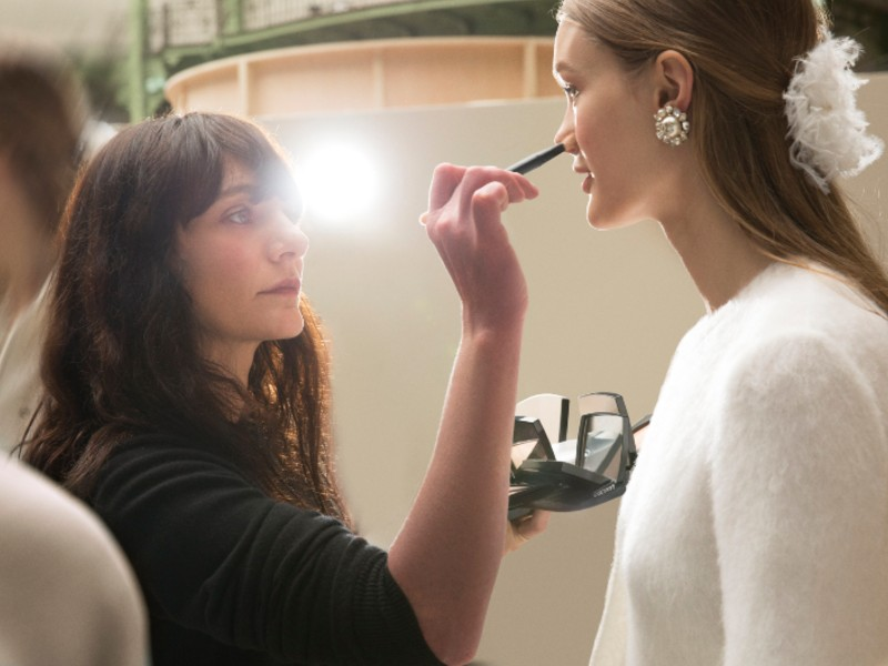 The makeup artist, Lucia Pica, in action. Image courtesy of Chanel.