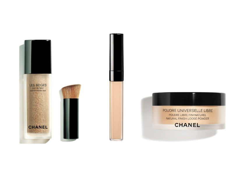 From left: the new Water-Fresh Tint, the concealer, and loose powder. Image courtesy of Chanel.