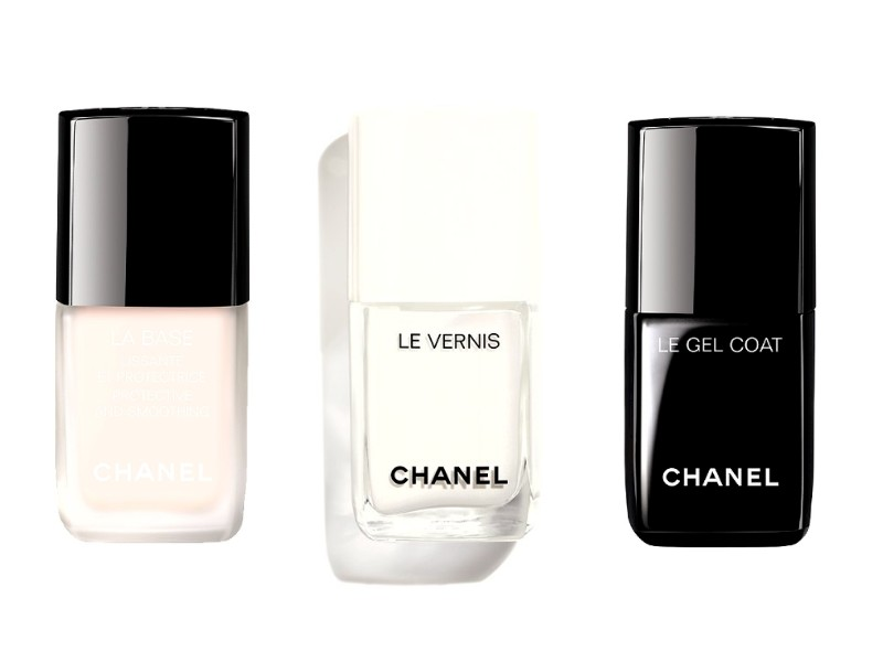 From left: La Base, Le Vernis in Pure White (launching in July), and Le Gel Coat. Image courtesy of Chanel.