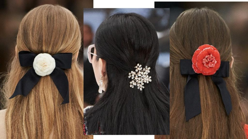 On the Chanel Fall/ Winter 2019 runway, models spotted half up-dos, cinched with a giant hair clip. Image courtesy of Chanel.