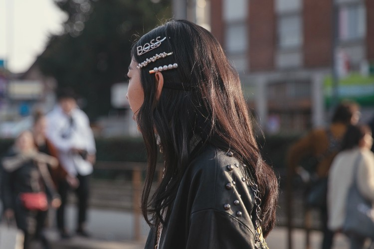 Barrette-stacking at Milan Fashion Week from this February. Photographed by Hugo Lee and Daniel Kim.