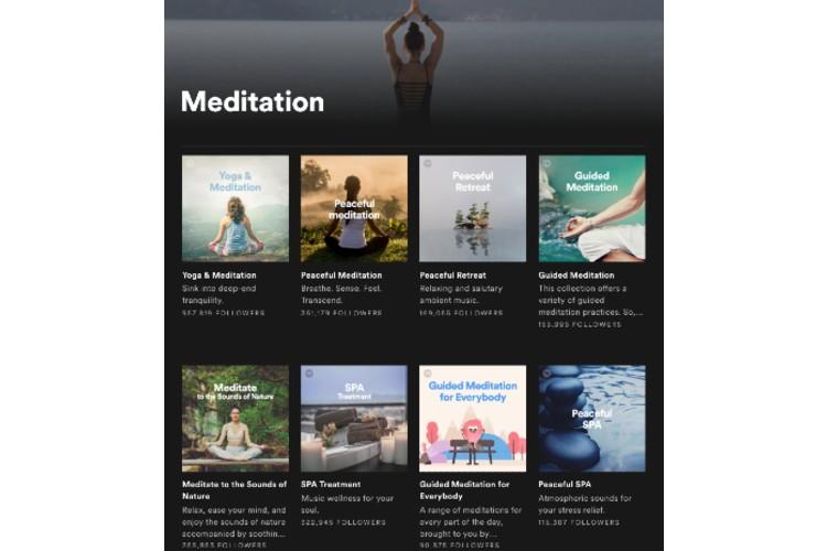 """The """"Meditation"""" genre on Spotify."""