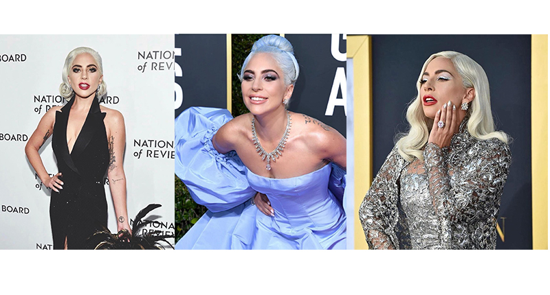 "Lady Gaga at the National Board of Reviews Ceremony 2019; Golden Globes 2019 red carpet; and ""A Star Is Born"" Los Angeles premiere respectively. Images source: @mihonails"