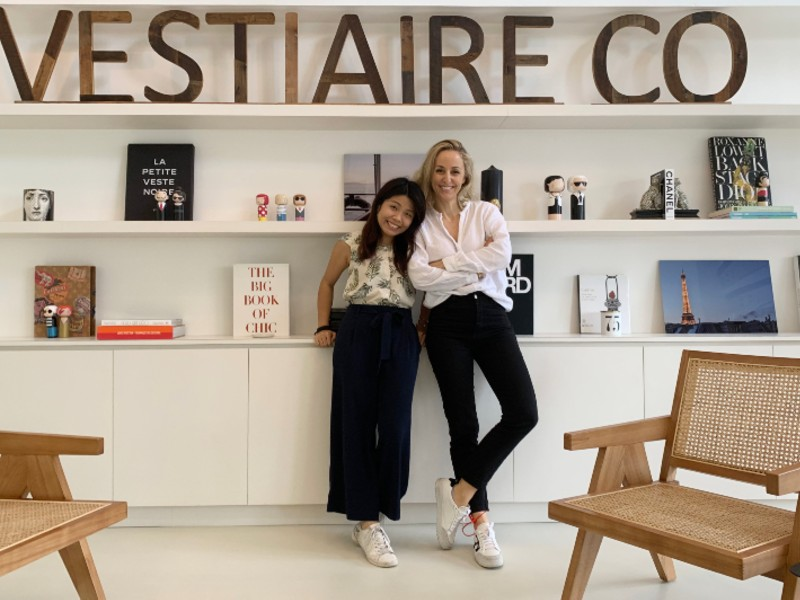 Fanny Moizant (right) poses for a shot with her personal assistant, Queenie Lau, in Vestiaire Collective's Hong Kong office. Photograph by Fanny Moizant