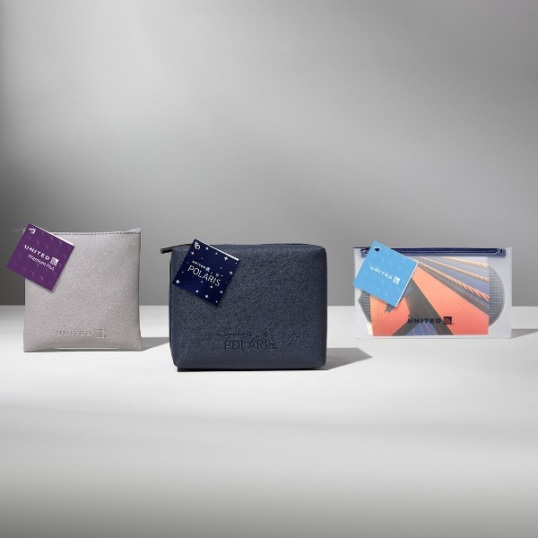 Designs for Sunday Riley's amenity kits on board United Airlines. Image source: United Airlines.