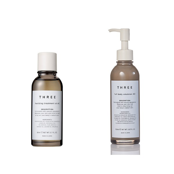 The foot and leg treatment oil (S$78 for 80ml) was designed to reduce water retention. In the treatment, these potent oils are sealed off with a layer of body emulsion (pictured left, S$88 for 150ml). Image source: THREE