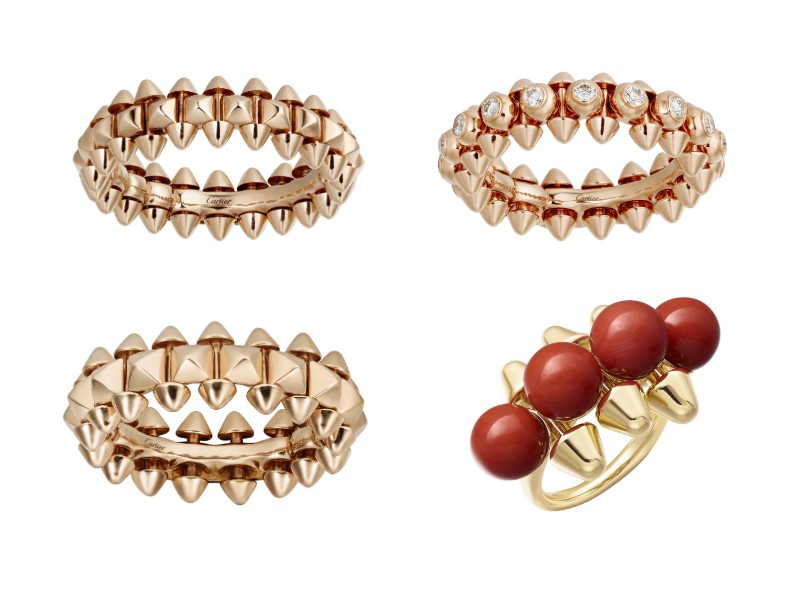 Left column (from top): a small pink gold ring (S$2,920) with a visibly thinner band decorated smaller and refined studs, contrasted with a medium pink gold ring (S$4,250) with a thicker band and chunkier studs. Right column (from top): a medium pink gold ring embellished with diamonds (S$11,700); a limited edition extra-large 18k yellow gold with spherical coral gemstones (S$15,550).