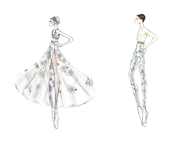Maria Grazia Chiuri's Dior costume design sketches for Nuit Blanche. Image source: Christian Dior.