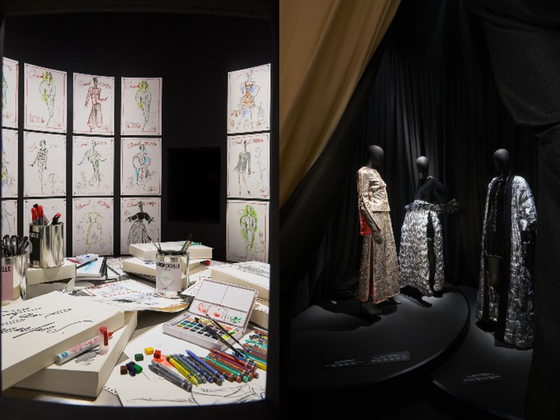 On the left, a model of the late designer, Karl Lagerfeld's workspace. Crayons, watercolours, coloured markers, and sketches are strewn all over the desk. On the right, haute couture pieces from the brand's archives. Image courtesy of Chanel