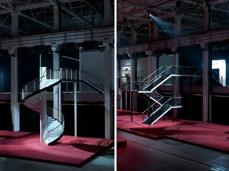 The stairs lead exhibition-goers to the second floor of the exhibition. Image courtesy of Chanel