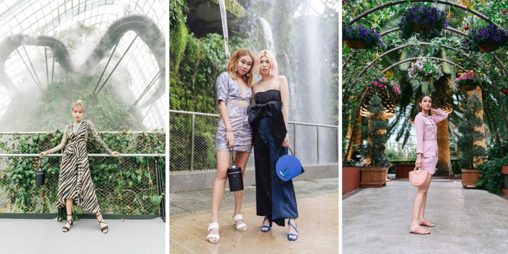 From left, Vietnamese fashion Instagrammer, Salim Hoang Kim Ngan; Singaporean Instagrammers, Nellie Lim and Nicole Wong, poses for a shot at the scenic waterfall in the Flower Dome; Filipino-American actress, Megan Young (@meganbata).