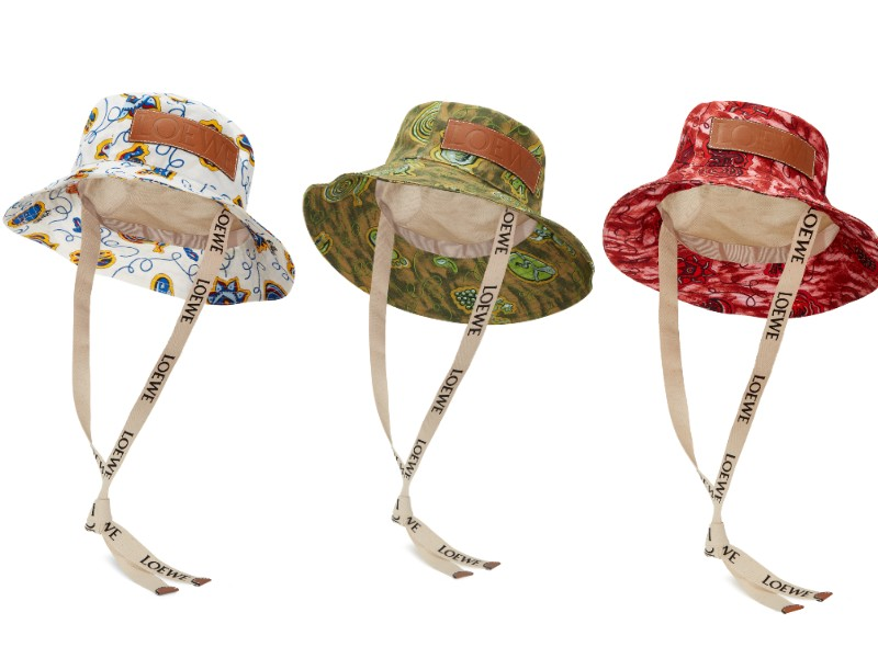 From left: white, green, and red bucket hats (S$690). This series includes an orange bucket hat too.
