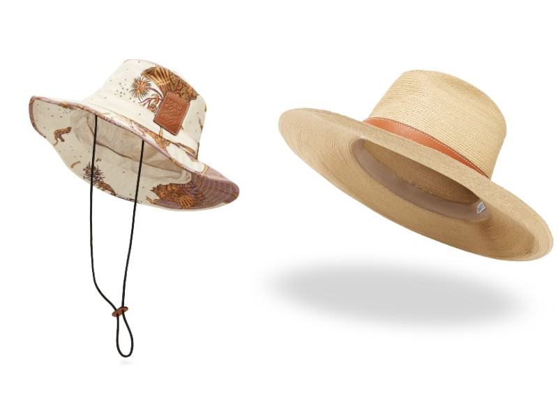From left: a white bucket hat (S$550); a straw hat (S$690).