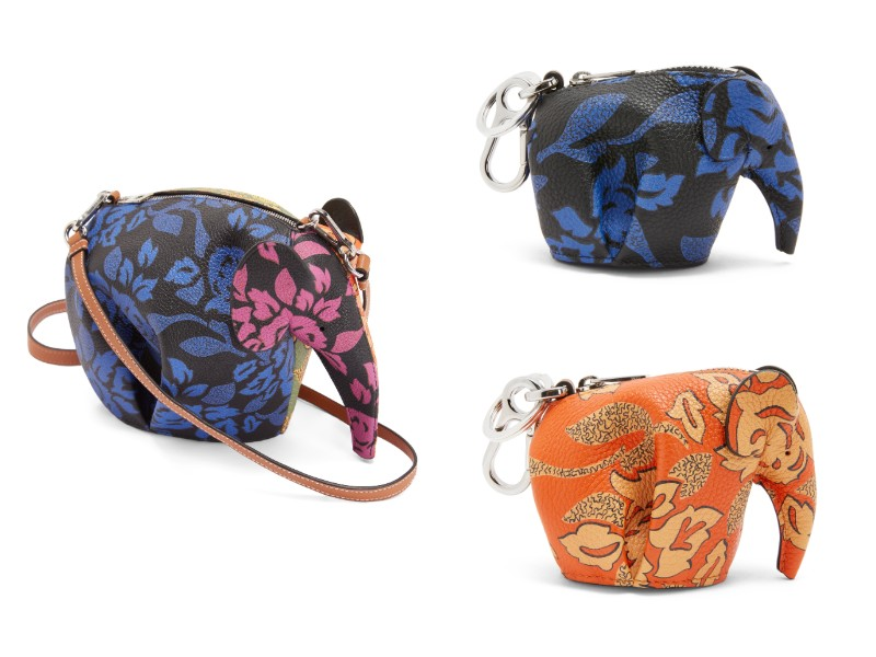 From left: a printed mini elephant bag (S$2,150); printed elephant charms in blue and orange (S$690 each).
