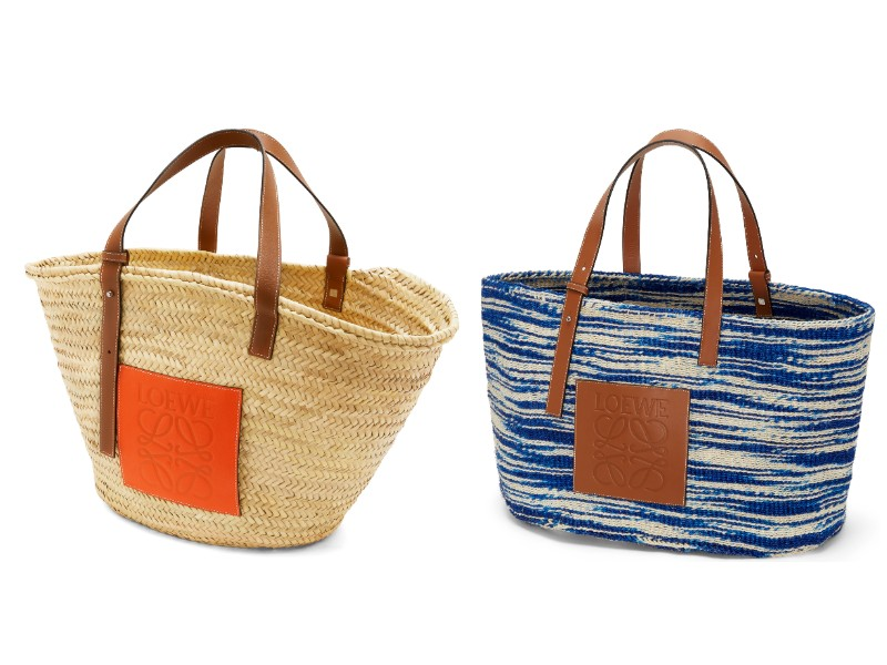 From left: a basket bag in natural and orange (price TBC); blue basket bag (price TBC).