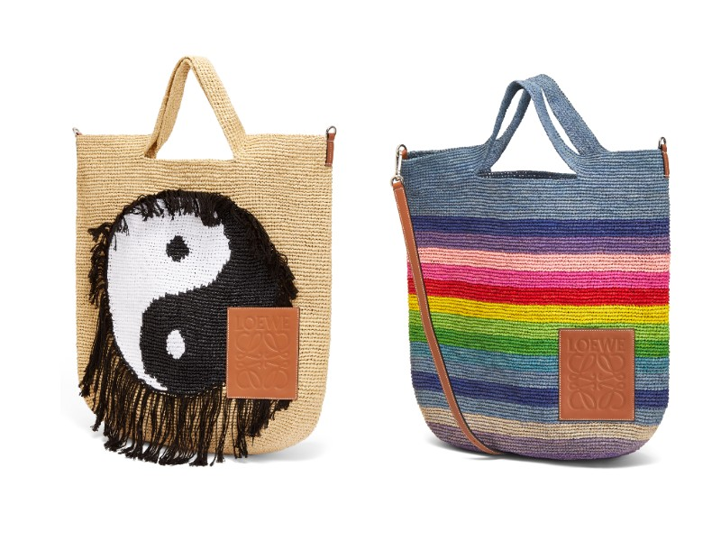 From left: Yin Yang Slit tote in large (S$1,900); Rainbow Slit tote in large (S$1,550).