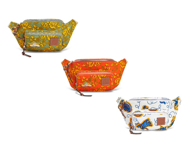 New to the Loewe accessories family is the fanny pack. Here, the new bum bag in green, orange, and white (S$850 each).