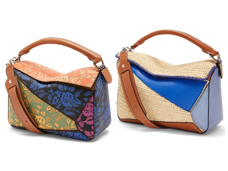 From left: a printed, multi-coloured Puzzle bag (S$3,300); a raffia and leather patchwork Puzzle bag (S$4,450).
