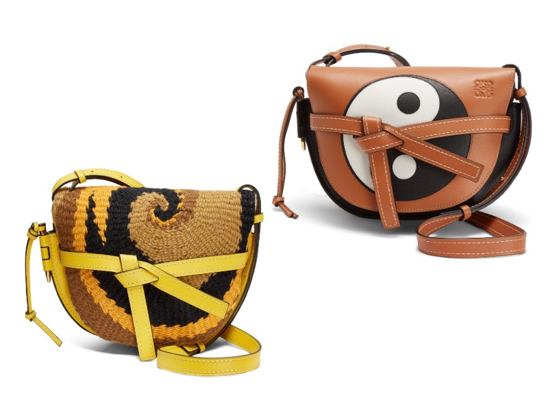 From left: a small, yellow, woven Gate bag (S$4,250); a tan-black Yin Yang small Gate bag (S$3,700).