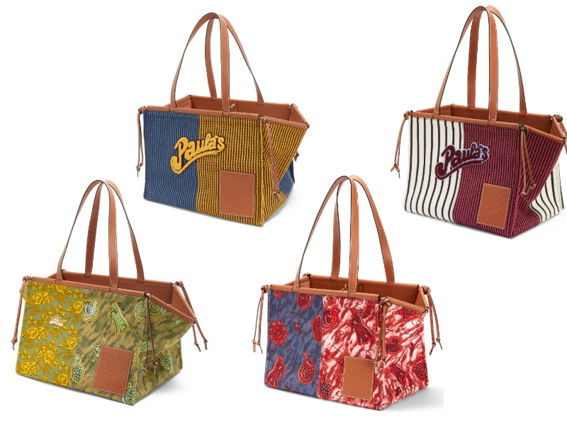 "Above from left: a large, green Paula printed Cushion tote (S$1,850); a large, blue and yellow striped Cushion tote with ""Paula's"" logo (S$1,900); a blue and red printed Cushion tote in regular size (S$1,650); a white and red striped Cushion tote in regular size (S$1,700)."