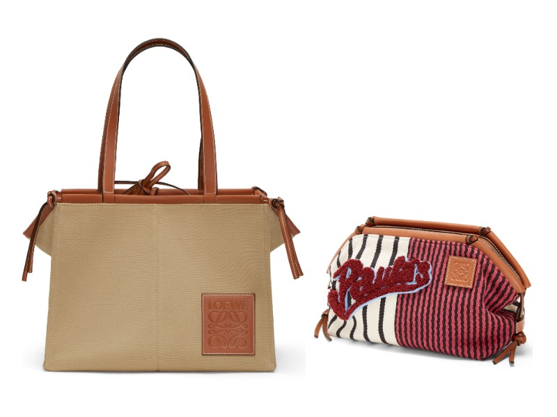 Here, a frontal view of the new Cushion tote (S$370) and an accompanying new printed Cushion pouch (S$750).