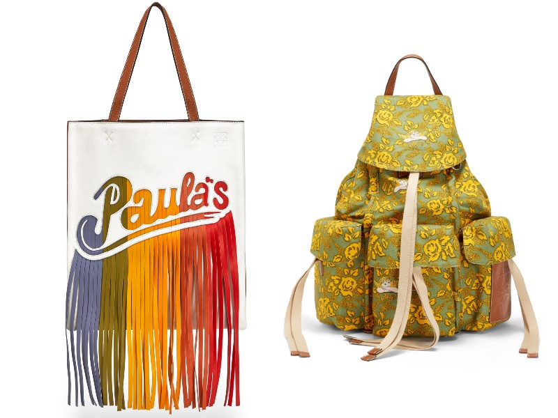 From left: a rainbow-coloured, fringed Paula's tote (S$3,100); a printed green rucksack (S$2,500).