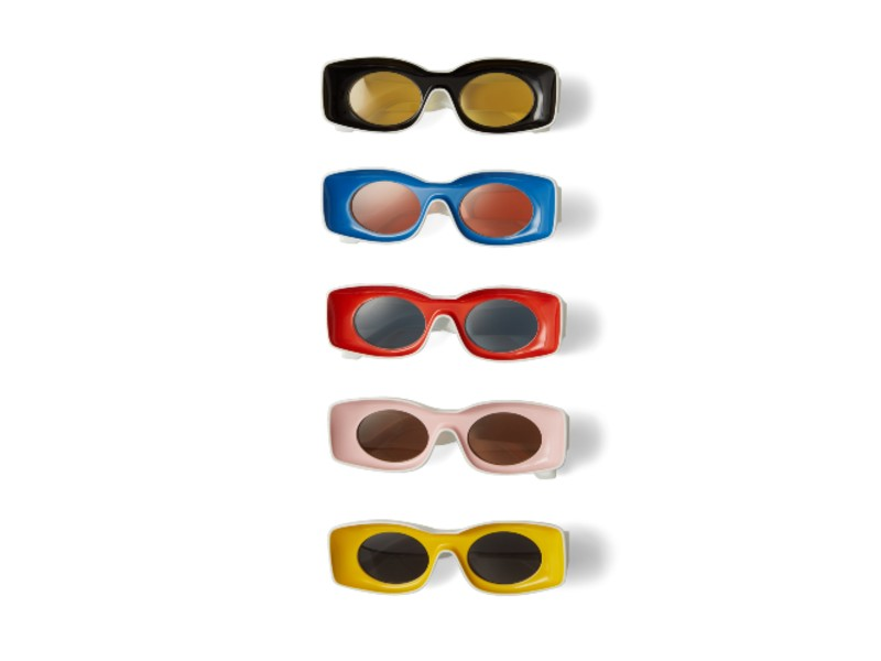 From top down: acrylic sunglasses in black, blue, red, pink, and yellow (S$480 each).