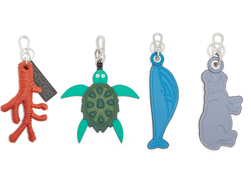 From left: a coral key ring (S$850); a turtle charm (S$550); a whale charm (S$250); a hippo charm (S$750).