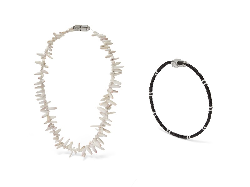From left: a shell necklace (S$750); a friendship bracelet (S$250).