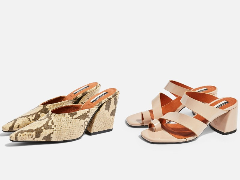 From left: vegan snakeskin mules with 3-inch heels (approx. S$105); vegan block heels with open toe hoops (approx. S$105).
