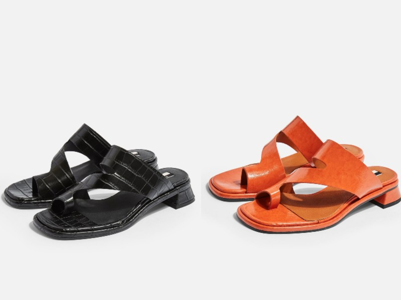From left: vegan crocodile-effect sandals in black (approx. S$87) with 1-inch heels; a similar pair in orange (approx. S$87).