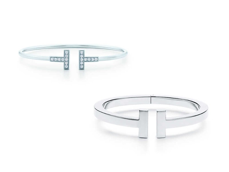 From left: Tiffany T Square Bracelet (approx. S$1,560); Tiffany T Wire Bracelet (S$4,600).
