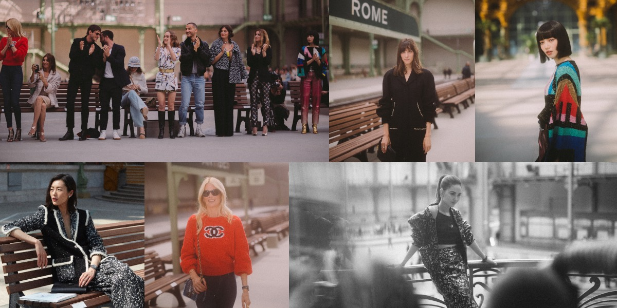 Seated on wooden benches that flanked the station's train tracks, Chanel ambassadors Charlotte Cardin, Nana Komatsu and Liu Wen, model Claudia Schiffer and actress-model Hannah Quinlivan, watched the 79-look collection.