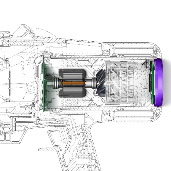 The new V11 digital motor reportedly runs up to 8,000 revolutions per minute when necessary. Image courtesy of Dyson.