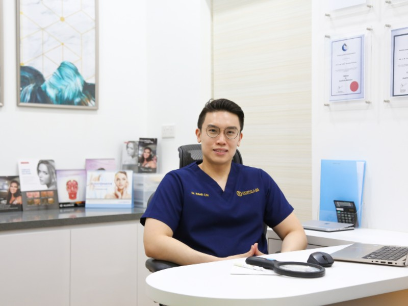 Dr. Edwin Lim in his office, also where consultations are held. Image courtesy of Dr. Edwin Lim Medical Aesthetic Clinic