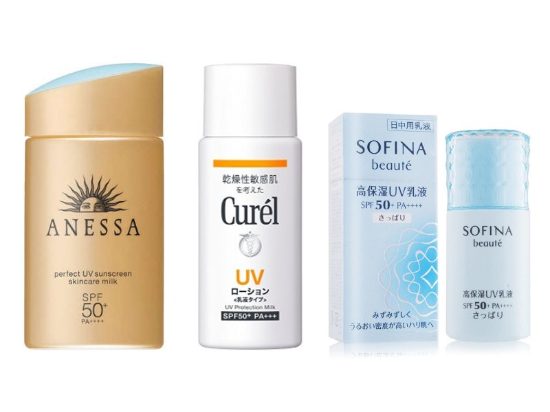 Third row (from left): Anessa Perfect UV Sunscreen Milk (S$39.90 from Watsons); Curel UV Protection Milk (S$21.60 from Watsons); Sofina Moisturising UV Cut Emulsion (S$53 from Isetan); Kanebo Allie Extra UV Facial Gel (not available in Singapore).