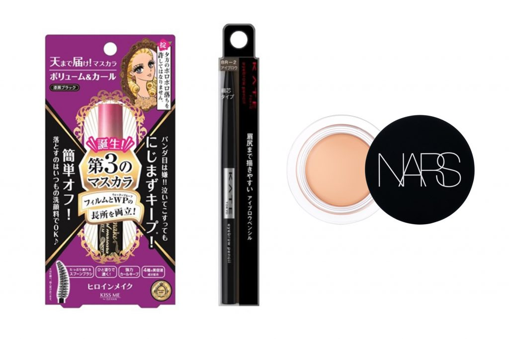 From left: Heroine Make's Waterproof Mascara (S$21.90 from Watsons); Kate Tokyo's Eyebrow Pencil (S$10.90 from Watsons); NARS's Concealer (S$46 from Sephora).