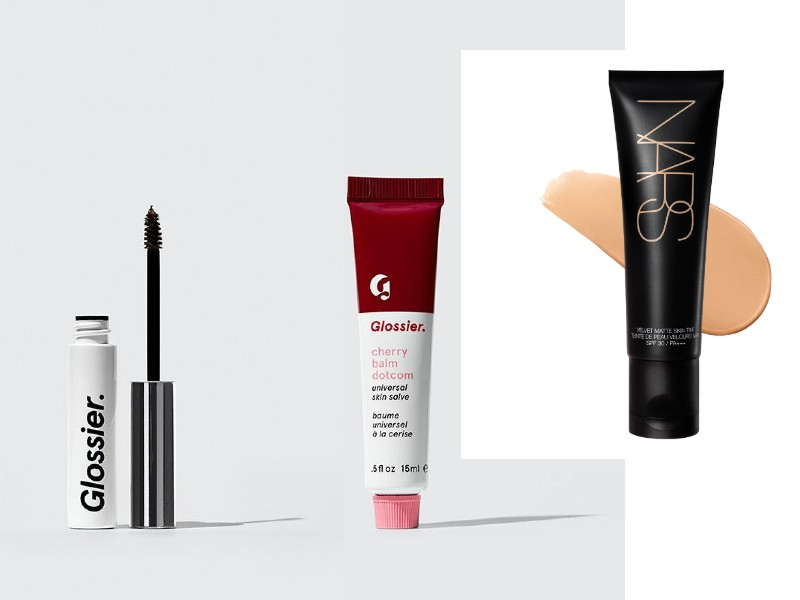 From left, the Glossier Boy Brow (US$16); the Glossier Cherry Balm Dotcom (US$12); NARS's Skin Tint (S$70 from Sephora).