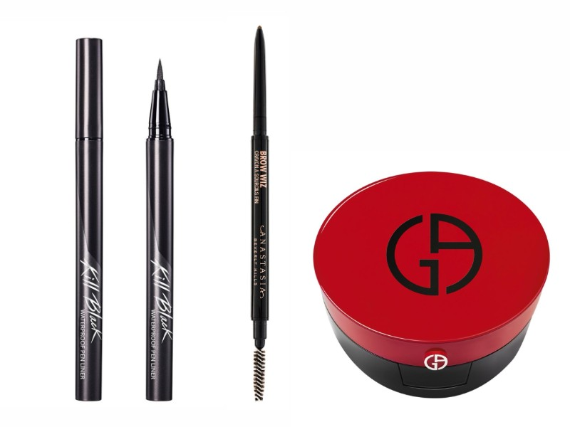 From left: Clio's Kill Black Waterproof Eyeliner (S$24.90 from Watsons); Anastasia Beverly Hills' Brow Pencil (S$40 from Sephora); Giorgio Armani Beauty Cushion (S$105 from Tangs).