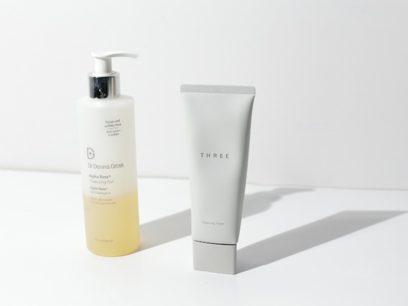 On the left: Dr. Dennis Gross' exfoliating cleanser swopped for the Japanese label, Three's cleansing foam. Photograph by Tung Pham.