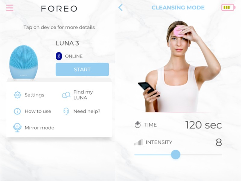 Sync your Luna 3 to the Foreo mobile application (left). When you press 'Start', you're led to the cleansing mode which can be customised to your preferences. Watch and follow the model as she move her hands to different parts of the face.