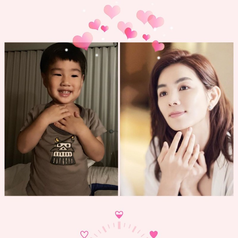 Chen posted an Instagram image of her son mimicking her in an advertisement that she shot. Image source: @him_ella0618
